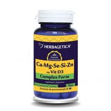 Ca+Mg+Se+Si+Zn cu Vit D3 Complex Forte 60 capsule